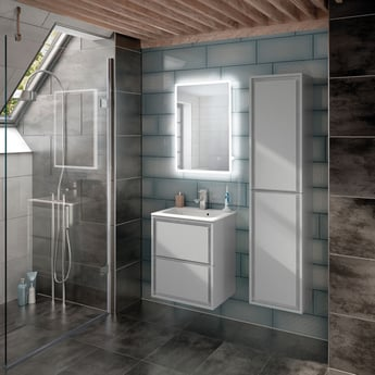HiB Vega 50 Portrait Demistable LED Bathroom Mirror with Charging Socket 700mm H x 500mm W