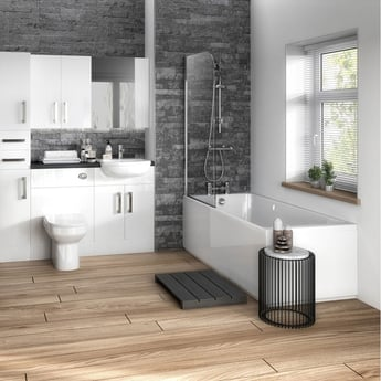 Hudson Reed MDF Straight Front Bath Panel and Plinth 1700mm Wide - Gloss White