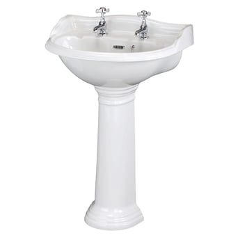 Hudson Reed Ryther Cloakroom Basin and Full Pedestal 500mm Wide - 2 Tap Hole