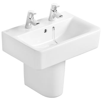 Ideal Standard Concept Cube Short Projection Basin and Semi Pedestal 550mm 2 Tap Hole