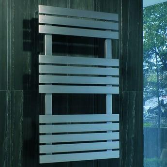 MaxHeat Detroit Flat Panel Heated Towel Rail 790mm H x 500mm W Brushed Stainless Steel