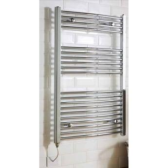 MaxHeat MaxRail Thermostatic Electric Curved Heated Towel Rail 1000mm H x 500mm W Chrome