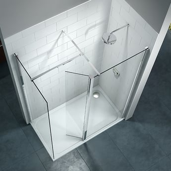 Merlyn 8 Series Swivel Walk-In Enclosure with End Panel, 1700mm x 800mm, Clear Glass