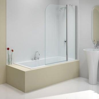 Merlyn Ionic Two Panel Folding Curved Bath Screen, 900mm x 1500mm, 6mm Glass