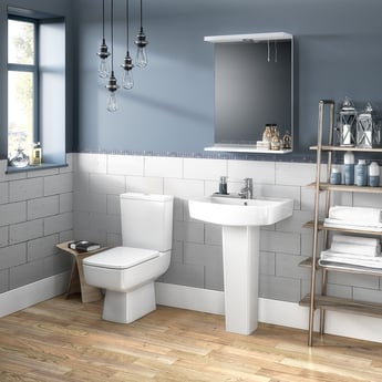 Premier Bliss Basin and Full Pedestal 600mm Wide 1 Tap Hole