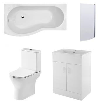 Premier Freya Complete Furniture Suite with 600mm Vanity Unit and B-Shaped Shower Bath 1700mm LH