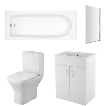 Premier Freya Complete Furniture Suite with 600mm Vanity Unit and 1700mm Bath and Bath Screen