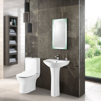 Premier Freya Basin and Full Pedestal 550mm Wide - 1 Tap Hole