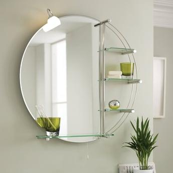 Premier Magnum Bathroom Mirror with Shelf, 800mm High x 800mm Wide, Stainless Steel
