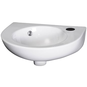 Premier Melbourne Rounded Wall Hung Cloakroom Basin 430mm Wide 1 Tap Hole