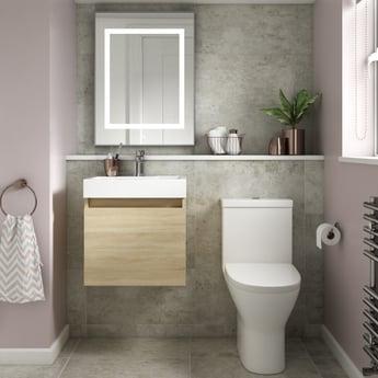 Premier Merit Wall Hung 1-Door Vanity Unit with L-Shaped Basin 500mm - Natural Oak