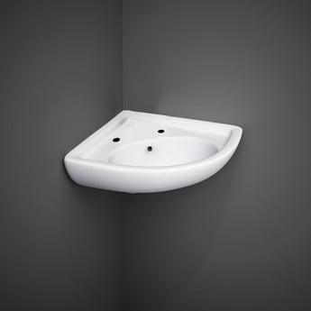 RAK Compact Corner Cloakroom Basin 440mm Wide 2 Tap Hole