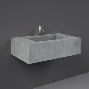 RAK Precious Wall Hung Console Wash Basin 830mm Wide 1 Tap Hole - Surface Cool Grey