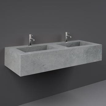 RAK Precious Wall Hung Console Wash Basin 1230mm Wide 2 Tap Hole - Surface Cool Grey
