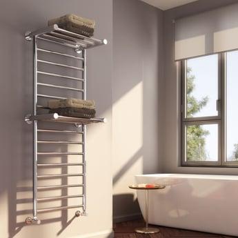 Reina Adena Designer Heated Towel Rail 1300mm H x 532mm W Chrome Stainless Steel