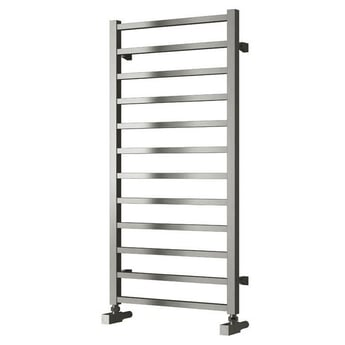 Reina Arden Square Tube Heated Towel Rail 500mm H x 500mm W Brushed Stainless Steel