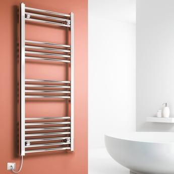 Reina Capo Straight Electric Heated Towel Rail 1000mm H x 400mm W Chrome