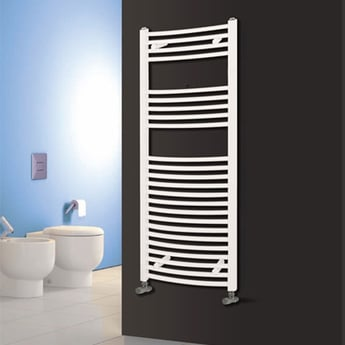 Reina Diva Electric Curved Heated Towel Rail 1200mm H x 600mm W White