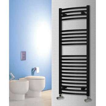Reina Diva Curved Heated Towel Rail 800mm H x 500mm W - Black