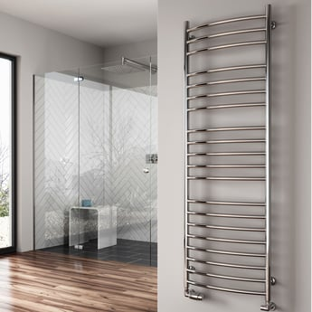 Reina Eos Curved Heated Towel Rail 1500mm H x 600mm W Polished Stainless Steel