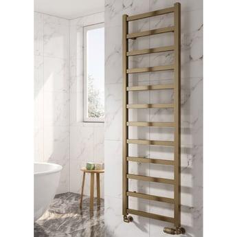 Reina Fano Designer Heated Towel Rail 1240mm H x 485mm W Bronze Satin