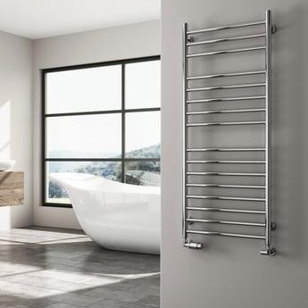Reina Luna Straight Heated Towel Rail 1200mm H x 600mm W Stainless Steel