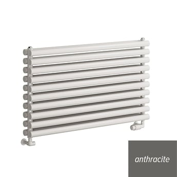 Reina Nevah Double Designer Horizontal Radiator 590mm H x 1400mm W Anthracite