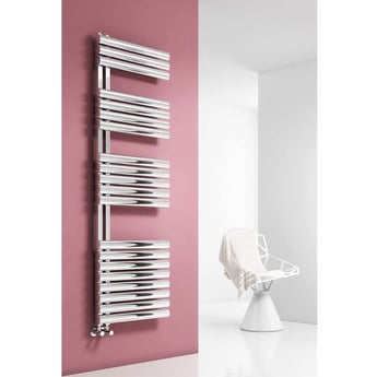 Reina Scalo Designer Heated Towel Rail 1120mm H x 500mm W Polished Stainless Steel