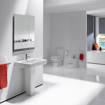 Roca The Gap Basin and Full Pedestal, 600mm Wide, 1 Tap Hole