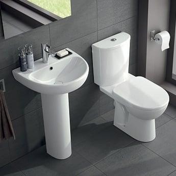 Twyford E100 Round Washbasin & Full Pedestal 550mm Wide 1 Tap Hole