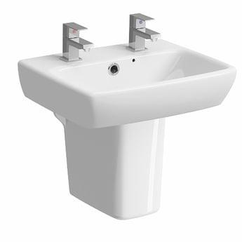 Twyford E100 Square Handrinse Washbasin with Semi Pedestal 450mm W - 2 Tap Hole