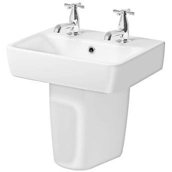Twyford E200 Handrinse Basin & Semi Pedestal 450mm Wide 2 Tap Hole