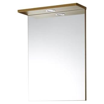 Verona Aquachic Single Bathroom Mirror with Light 500mm W X 700mm H - Natural Oak
