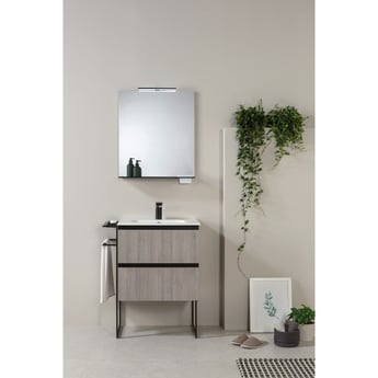Verona Structure Illuminated Bathroom Mirror 700mm H x 600mm W with Black Shelf and Storage Cases