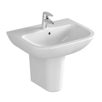 Vitra S20 Cloakroom Basin and Large Semi Pedestal 500mm Wide 1 Tap Hole