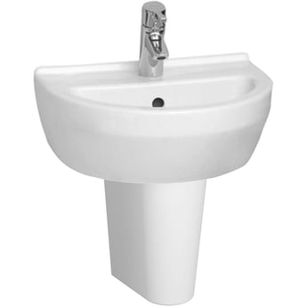 Vitra S50 Round Cloakroom Basin and Small Semi Pedestal 450mm Wide 1 Tap Hole