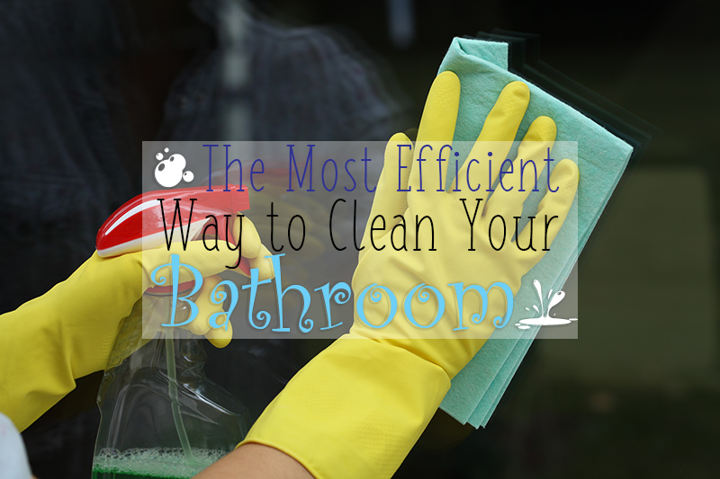 An image showing a hand and cleaning solutions cleaning glass, in the most efficient way to clean your bathroom by heatandplumb.com