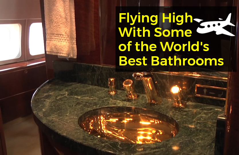 An image from Donald Trumps plane showing a golden sink. As shown in Flying High In Some of the worlds best bathrooms by heat and plumb
