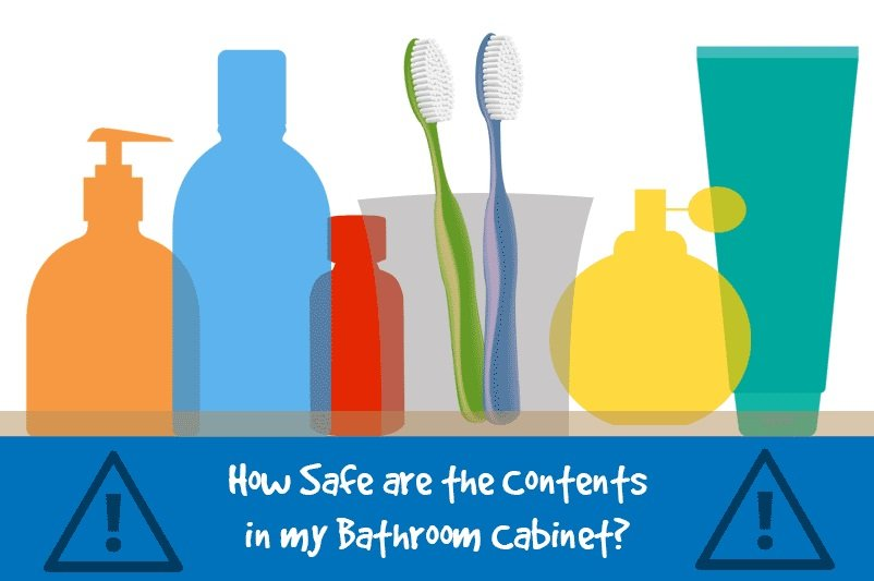 An image showing a collection of silhouettes of bathroom products as part of the blog post 'How Safe are the Contents of my Bathroom Cabinet' by heatandplumb.com