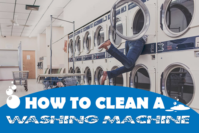 Image shows someone climbing into a washing machine and is part of the How to clean a washing machine by heatandplumb.com