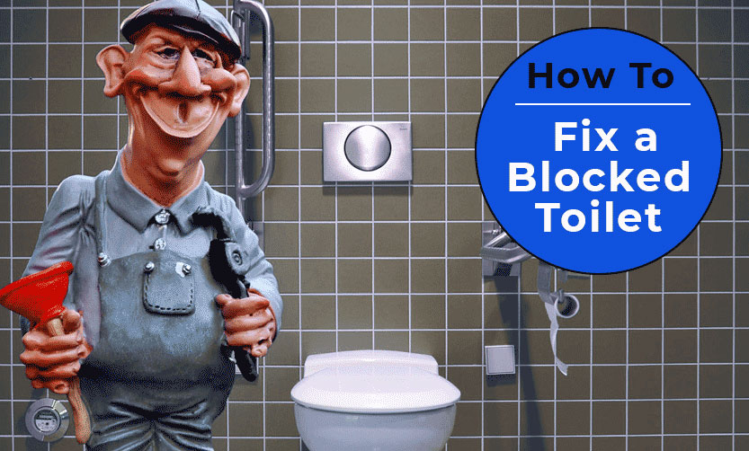 An image showing a cartoon plumber with a plunger for the blog post how to fix a blocked toilet by heatandplumb.com