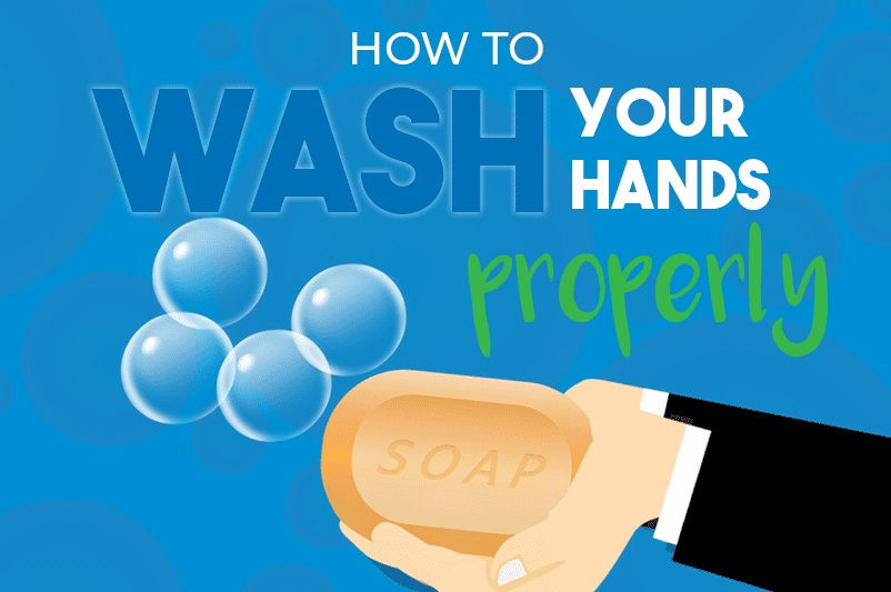 An images showing a cartoon hands with soap and bubbles as part of the blog post by heatandplumb.com How To Wash Your Hands Properly