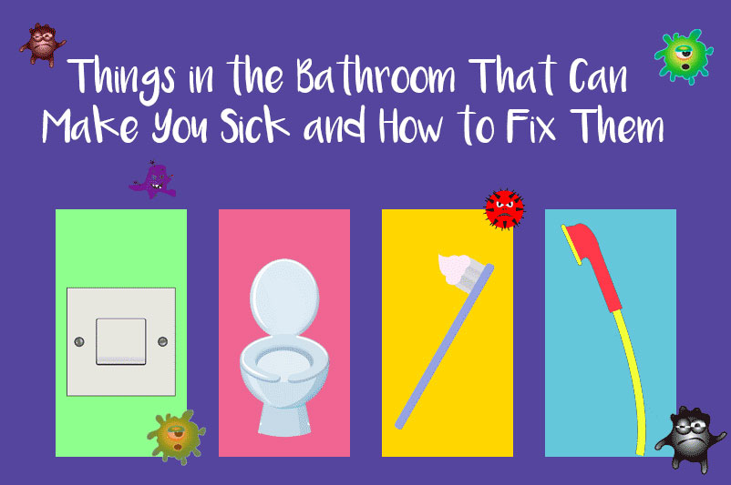 A image for the blog post Things in the Bathroom That Can Make You Sick and How to Fix Them showing a selection of bathroom items that can harbour germs and bacteria