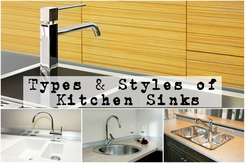A collage of kitchen sinks as shown in the Types and Styles of Kitchen Sinks Buyers Guide by heatandplumb.com