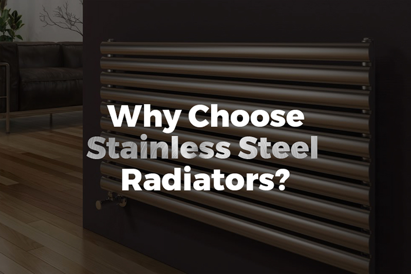 An image showing a stainless steel radiator with text from the article by heatandplumb explaing why to choose stainless steel radiators for your heating!