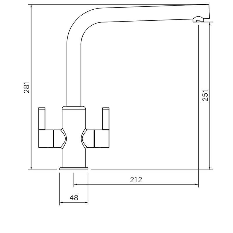 Abode Althia Monobloc Dual Lever Kitchen Sink Mixer Tap - Brushed Nickel