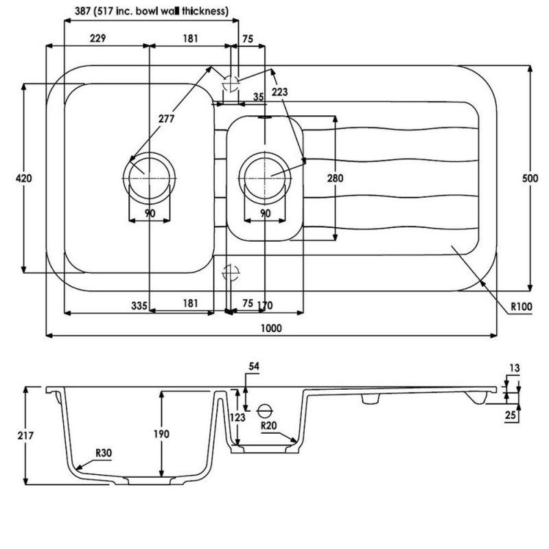 Abode Dune 1.5 Bowl Granite Kitchen Sink with Reversible Drainer 1000mm L x 500mm W - Grey Metallic