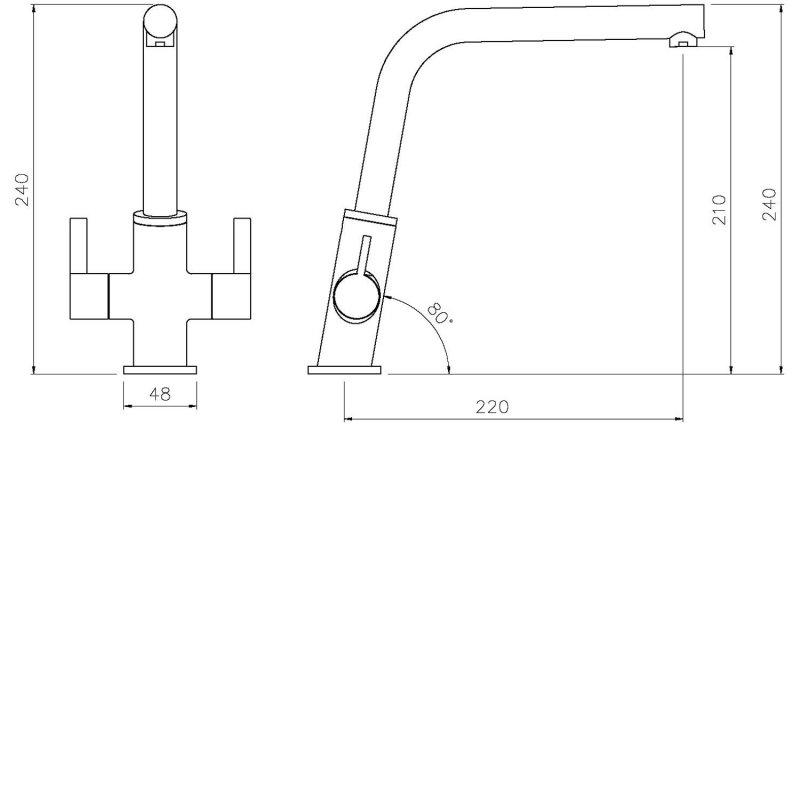 Abode Estimo Monobloc Kitchen Sink Mixer Tap - Chrome