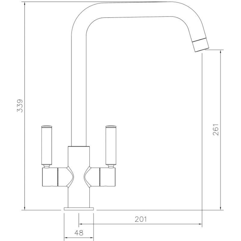 Abode Globe Quad Monobloc Kitchen Sink Mixer Tap - Matt Black