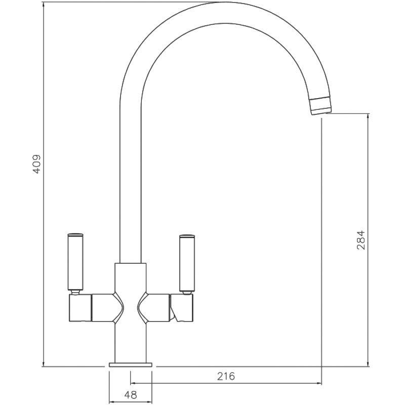 Abode Globe Aquifier Kitchen Sink Mixer Tap - Matt Black